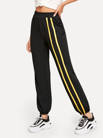 Striped Tape Side Carrot Pants | Amy's Cart Singapore