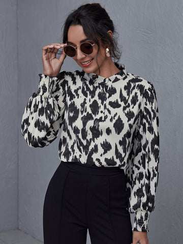 Shirred Cuff All Over Print Top