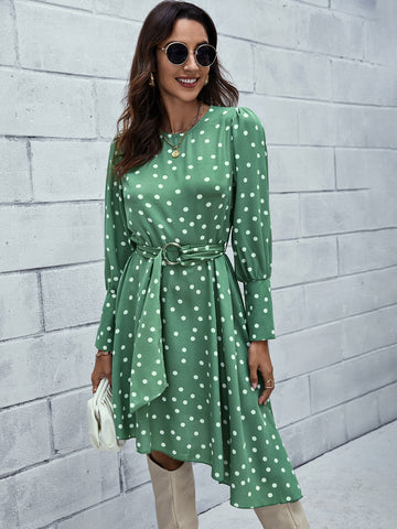 Polka Dot Puff Sleeve Belted Asymmetrical Hem Dress