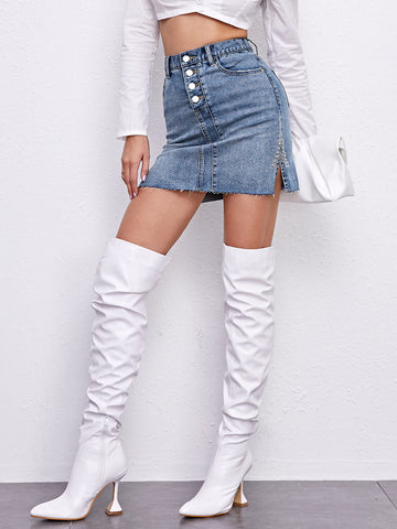 Studded Bead Split Side Raw Hem Denim Skirt