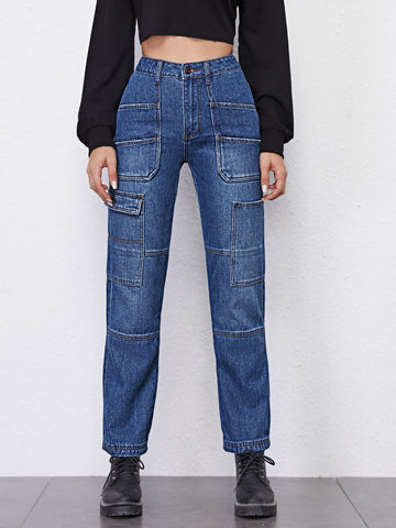 High Waist Patch Pocket Straight Jeans