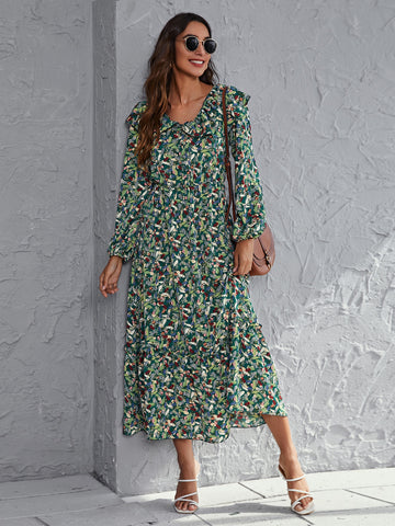 All Over Floral Print Ruffle Hem Dress