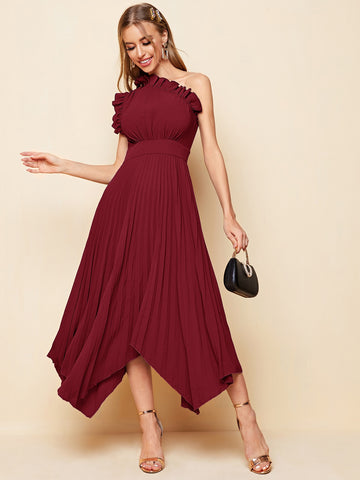 One Shoulder Ruffle Detail Pleated Hanky Hem Dress