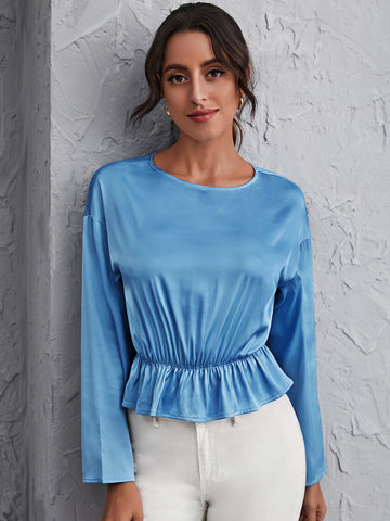 Drop Shoulder Satin Peplum Top