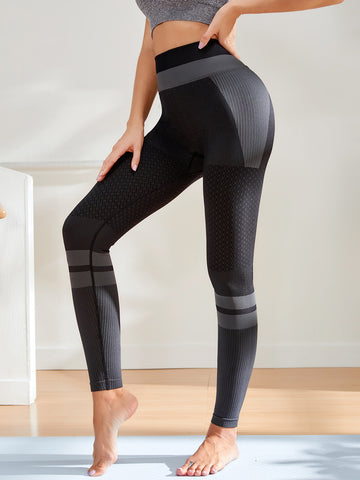 Contrast Panel Wideband Waist Sports Leggings