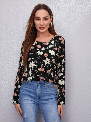 Allover Floral Print Top