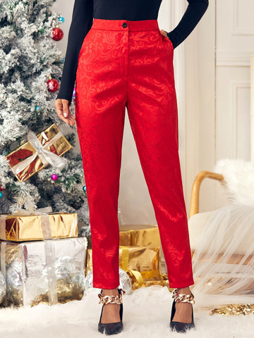 Satin Jacquard High Waist Tailored Pants