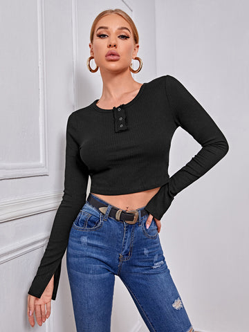Notch Neck Rib-knit Crop Tee