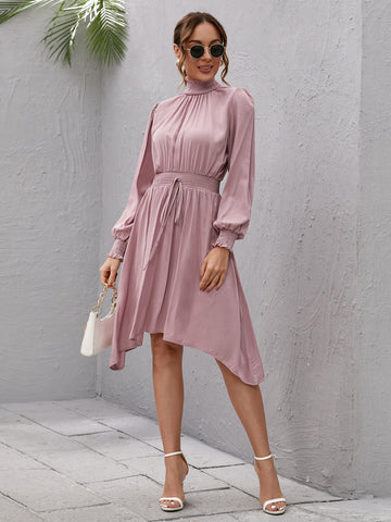 Shirred Neckline Bishop Sleeve Hanky Hem Dress