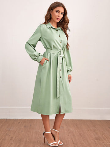 Lantern Sleeve Belted Shirt Dress