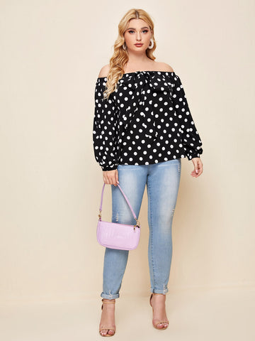 Plus Polka Dot Bow Front Off Shoulder Top