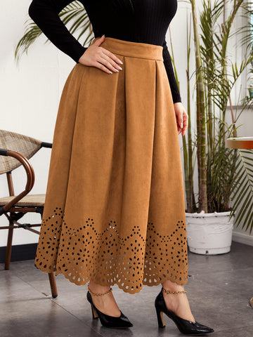 Plus Scallop Edge Laser Cut Pleated Suede Skirt