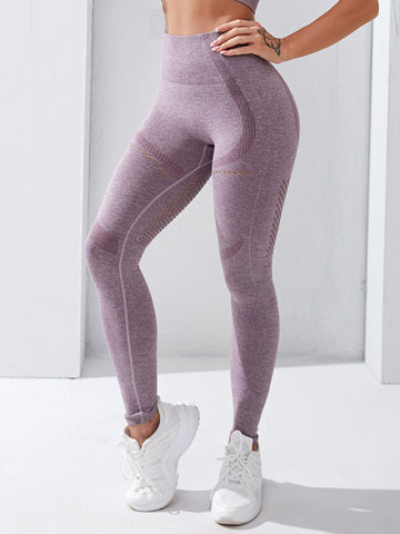 Hollow Out Color Block Sports Leggings