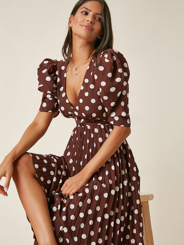 Polka Dot Tied Backless Pleated Hem Dress