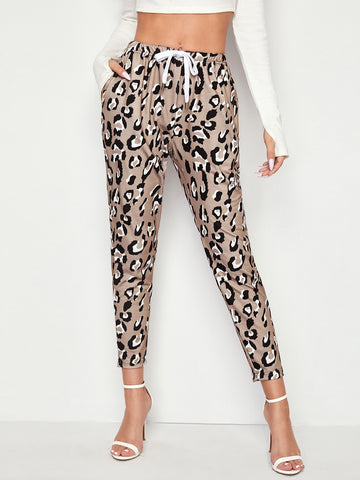 All Over Print Slant Pocket Drawstring Waist Pants