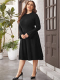 Plus Solid Flounce Sleeve Sweater Dress
