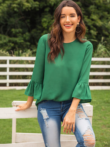 Solid Button Keyhole Flounce Sleeve Blouse | Amy's Cart Singapore