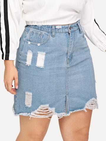 Plus Ripped Raw Hem Denim Skirt | Amy's Cart Singapore
