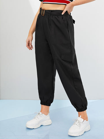 Plus Solid Belted Crop Cargo Pants | Amy's Cart Singapore