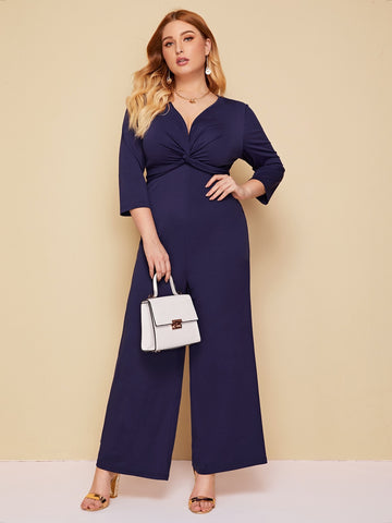 Plus Twist Front Wide Leg Jumpsuit | Amy's Cart Singapore