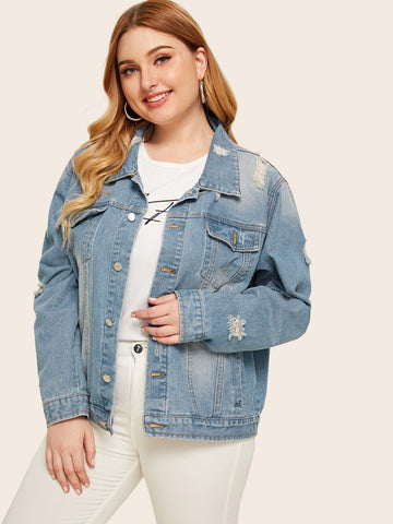 Plus Button Front Ripped Pocket Washed Denim Jacket | Amy's Cart Singapore