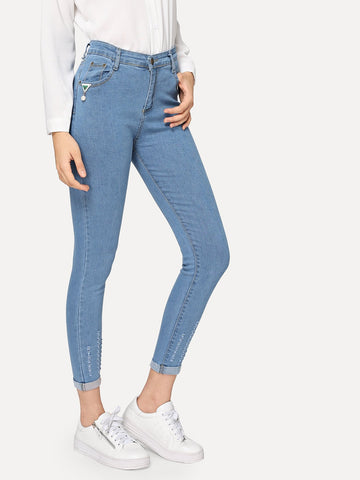 Ripped Roll-Up Skinny Jeans | Amy's Cart Singapore