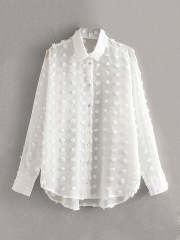 Swiss Dot Sheer Blouse | Amy's Cart Singapore