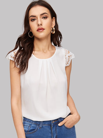 Guipure Lace Cap Sleeve Pleated Blouse | Amy's Cart Singapore