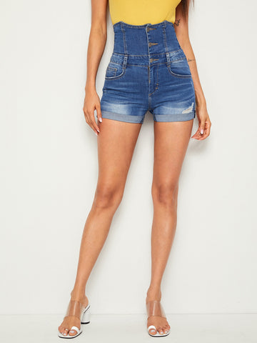 Button Fly High Waist Ripped Cuffed Denim Shorts | Amy's Cart Singapore