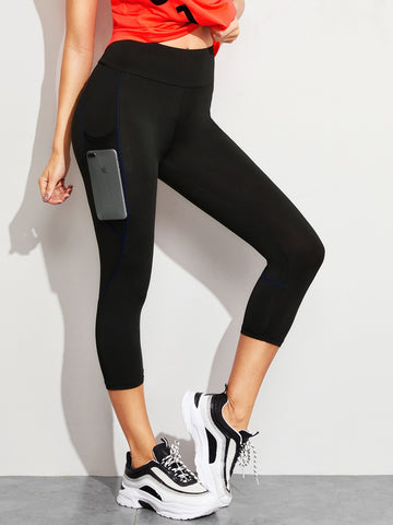 Contrast Stitch Mesh Pocket Capris Leggings | Amy's Cart Singapore