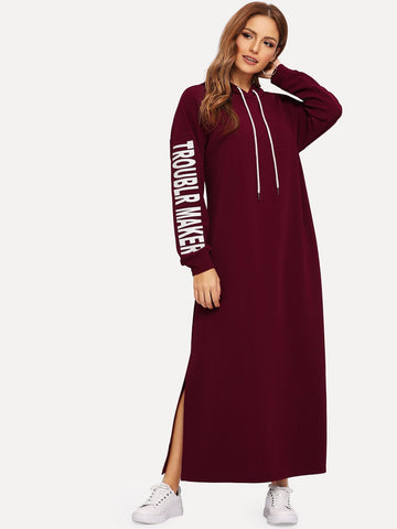 Letter Print Split Side Hooded Hijab Dress | Amy's Cart Singapore