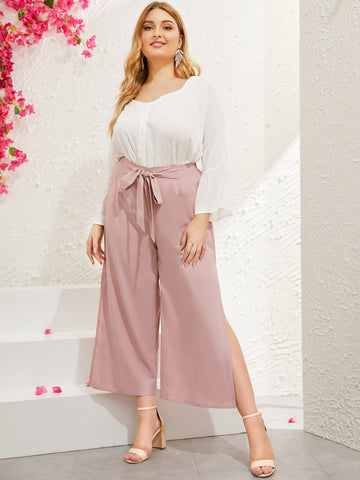 Plus Wide Leg Split Side Pants | Amy's Cart Singapore