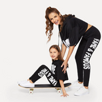 Mummy - Letter Print Crop Top And Leggings Set | Amy's Cart Singapore
