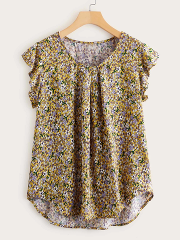 Ditsy Floral Curved Hem Top