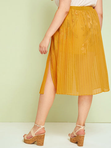 Plus Split High Pleated Skirt | Amy's Cart Singapore