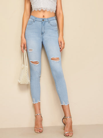 Ripped Raw Hem Faded Wash Jeggings | Amy's Cart Singapore