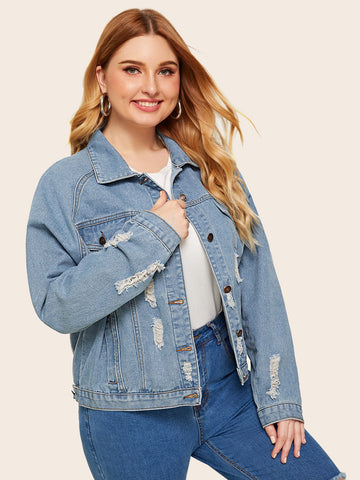Plus Button Front Pocket Ripped Denim Coat | Amy's Cart Singapore