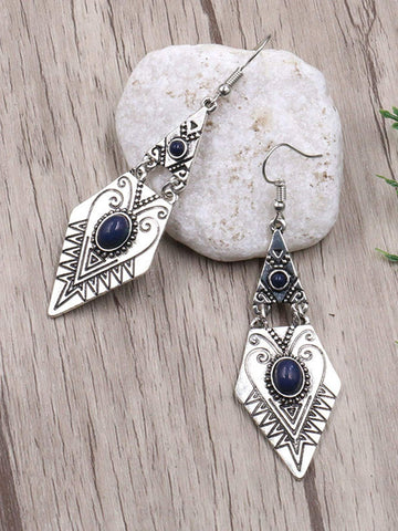 Bead Engraved Geometric Statement Earrings 1pair | Amy's Cart Singapore