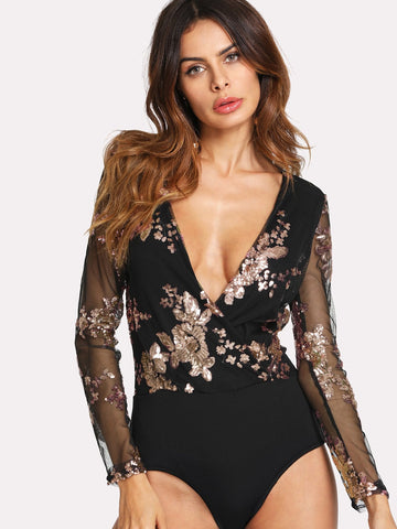 Contrast Sequin Sheer Sleeve Bodysuit | Amy's Cart Singapore