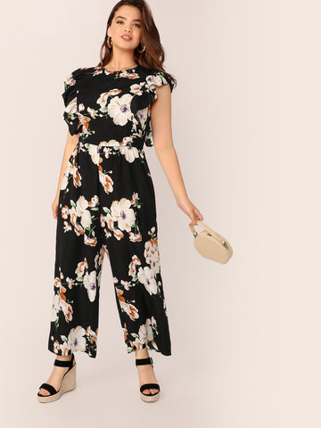 Plus Ruffle Armhole Floral Print Maxi Jumpsuit | Amy's Cart Singapore