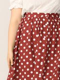 Plus Polka Dot Button Up Skirt | Amy's Cart Singapore