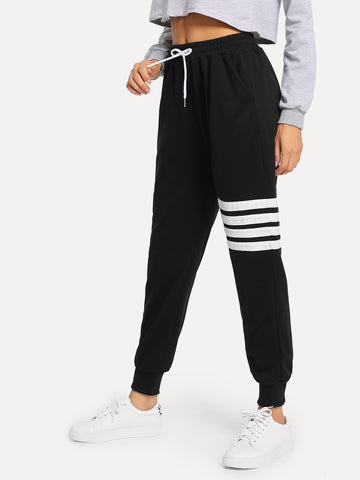 Drawstring Waist Varsity-Striped Sweatpants | Amy's Cart Singapore