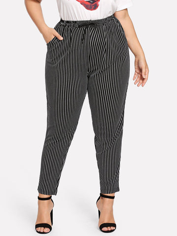 Plus Striped Drawstring Pocket Pants | Amy's Cart Singapore