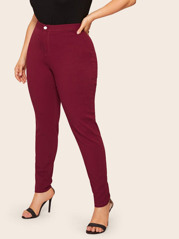 Plus Solid High Waist Jeans | Amy's Cart Singapore