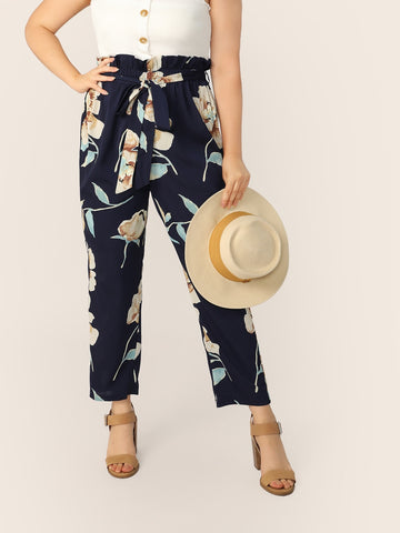 Plus Paperbag Waist Self Belted Pants | Amy's Cart Singapore