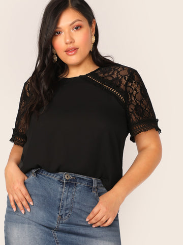 Plus Lace Insert Raglan Sleeve Top | Amy's Cart Singapore