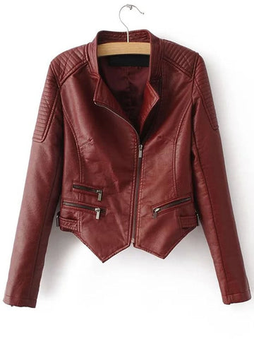 Red Oblique Zipper Asymmetrical Crop PU Jacket | Amy's Cart Singapore