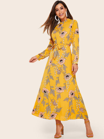 Floral Print Belted Chiffon Maxi Dress | Amy's Cart Singapore