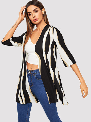 3/4 Sleeve Striped Kimono | Amy's Cart Singapore