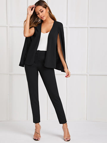 Solid Cape Blazer & Pants Set | Amy's Cart Singapore